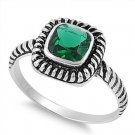 PRINCESS EMERALD CZ HALO CABLE BAND Sterling Silver Ring Sterling Silver Emerald