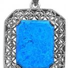 Emerald Cut Turquoise Cubic Zirconia Antique Pendant Sterling Silver Antique