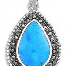 Pear Cut Turquoise Cubic Zirconia Antique Pendant Sterling Silver Antique Style