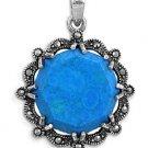 Brilliant Cut Turquoise Cubic Zirconia Antique Pendant Sterling Silver Antique