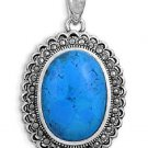 Jerusalem Oak's Oval Cut Turquoise CZ Antique Pendant Sterling Silver Antique