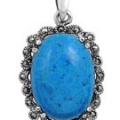Oval Cut Turquoise CZ Antique Pendant Sterling Silver Antique Style TURQUOISE