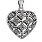 Heart Shape Marcasite CZ Antique Pendant Sterling Silver Antique Style MARCASITE