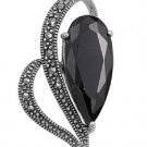 Pear Cut Black Cubic Zirconia in a Heart Antique Pendant Sterling Silver Antique