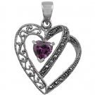 Heart Shape Amethyst CZ Antique Pendant Sterling Silver Antique Style AMETHYST