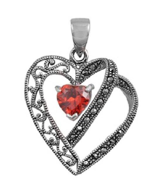 Heart Shape Ruby Cubic Zirconia Antique Pendant Sterling Silver Antique Style