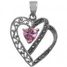 Heart Shape Pink Cubic Zirconia Antique Pendant Sterling Silver Antique Style
