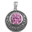 Brilliant Cut Pink Cubic Zirconia Antique Pendant Sterling Silver Antique Style