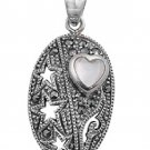 Heart Shape Mother of Pearl CZ Antique Pendant Sterling Silver Antique Style MOT