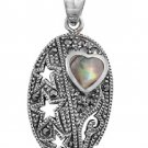 Heart Shape Abalone Cubic Zirconia Antique Pendant Sterling Silver Antique Style