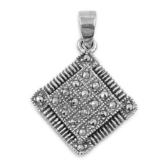 19mm Marcasite Cubic Zirconia Antique Pendant Sterling Silver Antique Style MARC