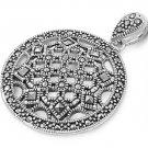 40mm Filigree Circle Marcasite Cubic Zirconia Antique Pendant Sterling Silver An
