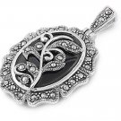 Oval Cut Black Onyx Cubic Zirconia Antique Pendant Sterling Silver Antique Style