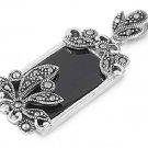 Emerald Cut Black Onyx CZ Antique Pendant Sterling Silver Antique Style BLACK ON