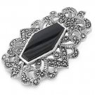 Hexagonal Black Onyx Cubic Zirconia Antique Pendant Sterling Silver Antique Styl