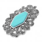 Hexagonal Turquoise Cubic Zirconia Antique Pendant Sterling Silver Antique Style