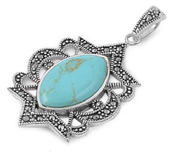 Marquise Cut Turquoise Cubic Zirconia Antique Pendant Sterling Silver Antique St
