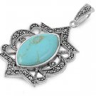 Marquise Cut Turquoise Cubic Zirconia Antique Pendant Sterling Silver Antique St