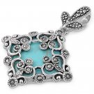 Princess Cut Turquoise CZ Antique Pendant Sterling Silver Antique Style TURQUOIS