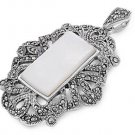 Emerald Cut Mother of Pearl Cubic Zirconia Antique Pendant Sterling Silver Antiq