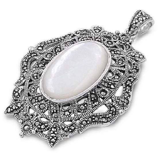 Oval Cut Mother of Pearl Cubic Zirconia Antique Pendant Sterling Silver Antique