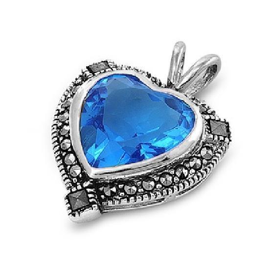 Heart Shape Blue Topaz Cubic Zirconia Antique Pendant Sterling Silver Antique St
