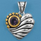 Vintage Two Tone Brilliant Amethyst CZ Heart Pendant Sterling Silver Antique Sty