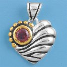 Vintage Two Tone Brilliant Garnet CZ Heart Pendant Sterling Silver Antique Style