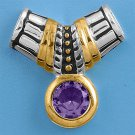 Two Tone Brilliant Amethyst CZ Antique Pendant Sterling Silver Antique Style AME