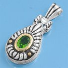 Two Tone Oval Cut Peridot CZ Antique Pendant Sterling Silver Antique Style PERID