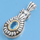 Two Tone Oval Cut Aquamarine CZ Antique Pendant Sterling Silver Antique Style AQ