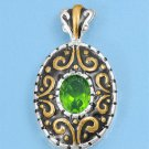Two Tone Oval Cut Peridot Cubic Zirconia Antique Pendant Sterling Silver Antique