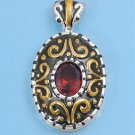 Two Tone Oval Cut Garnet Cubic Zirconia Antique Pendant Sterling Silver Antique