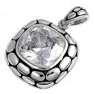 Cushion Cut Cubic Zirconia Antique Pendant Sterling Silver Antique Style CLEAR