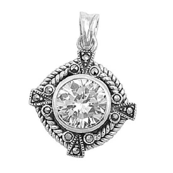 Brilliant Cut Vintage Cubic Zirconia Solitaire Pendant Sterling Silver Antique S