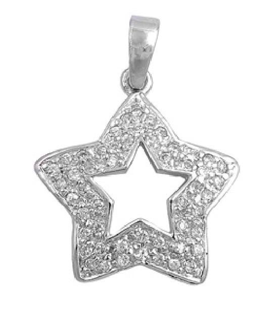 Vintage Pave Cubic Zirconia Plump Star Pendant Sterling Silver Antique Style CLE