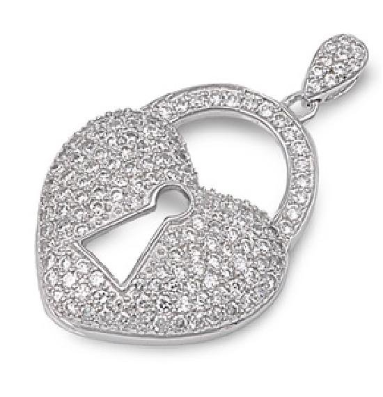 Vintage Style Lock Pave Cubic Zirconia Heart Pendant Sterling Silver Antique Sty