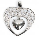 Pave Antique with Mini Dangle Cubic Zirconia Heart Pendant Sterling Silver Antiq