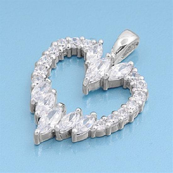 Vintage Marquise Cut Cubic Zirconia Heart Pendant Sterling Silver Antique Style