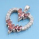 Vintage Marquise Cut Garnet Cubic Zirconia Heart Pendant Sterling Silver Antique
