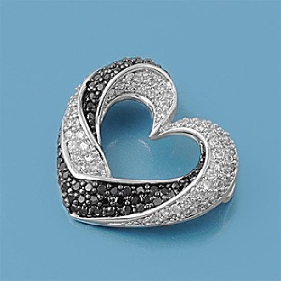 Vintage Pave Black Cubic Zirconia Twisted Heart Pendant Sterling Silver Antique