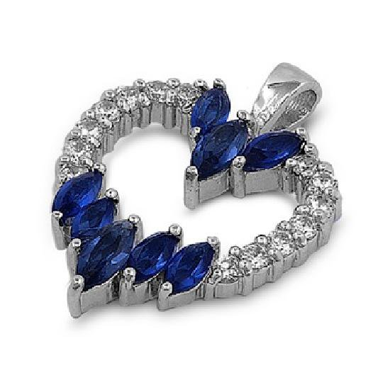 Marquise Cut Blue Sapphire Cubic Zirconia Heart Pendant Sterling Silver Antique