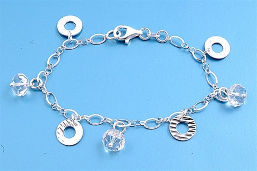 Silver Bracelet W/ Charms 925 Solid Sterling Silver Clear Crystal  7 inches Inch