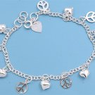 Silver Bracelet W/ Charms - Peace Sign And Heart 925 Solid Sterling Silver   7.5