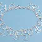 Silver Italian Bracelet W/ Charms - Moon 925 Solid Sterling Silver   7.25 inches