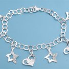 Silver Italian Bracelet W/ Charms - Star And Heart 925 Solid Sterling Silver   7