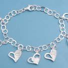 Silver Italian Bracelet W/ Charms - Heart 925 Solid Sterling Silver   7 inches I
