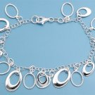Silver Italian Bracelet W/ Charms - Ring Charms 925 Solid Sterling Silver   7.5