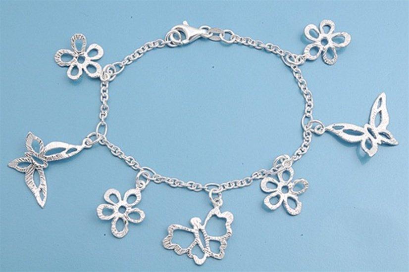 Silver Italian Bracelet W/ Charms - Butterfly 925 Solid Sterling Silver   7 inch