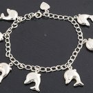 Silver Bracelet W/ Charm - Dolphin 925 Solid Sterling Silver   6.75 - 7 inches (
